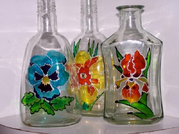 Витражные бутылки
