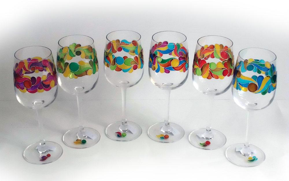 Украсить бокалы для свадьбы лентами